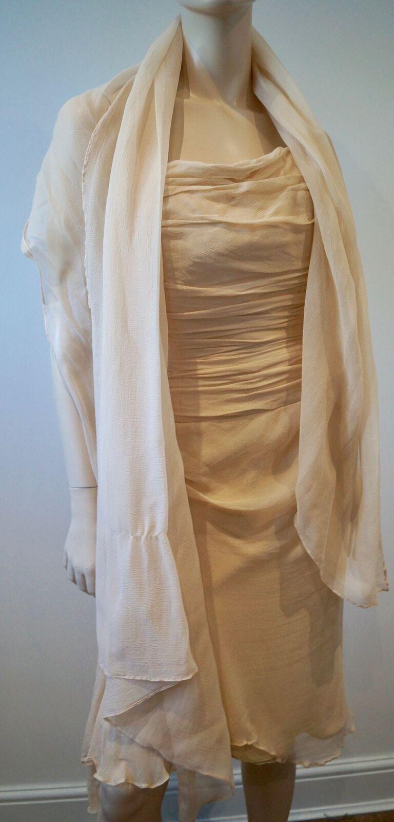 KYRI Cream 100% Silk Pleated Ruched Boned Sleeveless Bodice Evening Dress Shawl