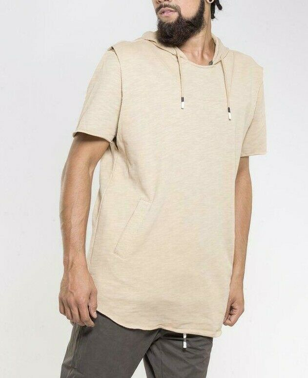 SALE - Crooks and Castles Short Sleeved Hoodie - Khaki Beige - WAS  - SIZE XL