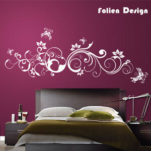pf31 wandtattoo ranke blumen blumenranke hibiskus wandaufkleber schmetterlinge ebay. Black Bedroom Furniture Sets. Home Design Ideas