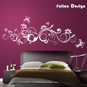 pf31 wandtattoo ranke blumen blumenranke hibiskus wandaufkleber schmetterlinge ebay. Black Bedroom Furniture Sets. Home Design Ideas