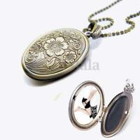 Vintage Love Couple Oval Bronze Flower Photo Frame Locket Pendant Necklace New