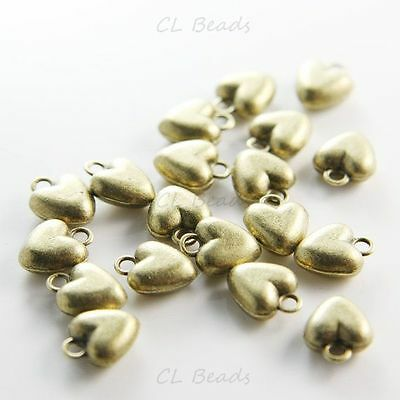 16pcs Antique Brass Tone Base Metal Charms-Heart 10x12mm (2177X-E-109B)