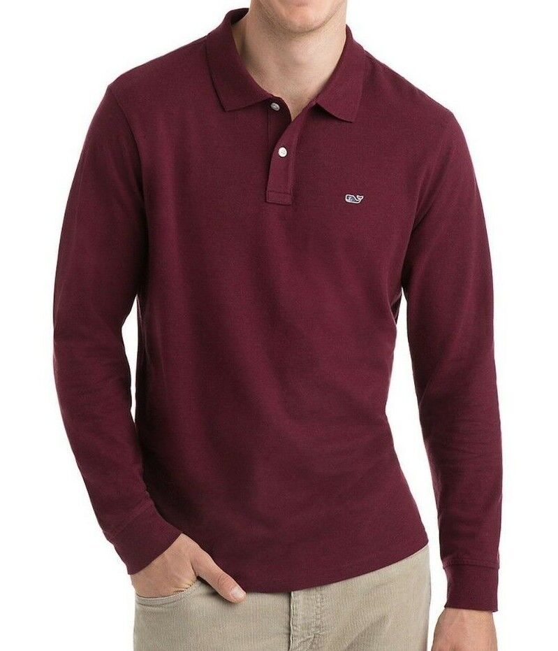NWT Vineyard Vines Long Sleeve Stretch Pique Polo Crimson Large Medium 40% OFF