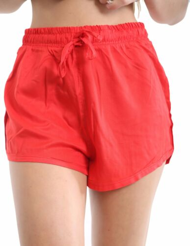 Womens Ladies Linen High Waist Hot Pants Beach Summer Shorts UK Size 10 to 16
