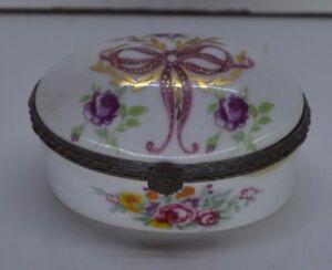 Ancienne Boite Coffre A Bijoux Porcelaine CÉramique Faience Bronze Miniature
