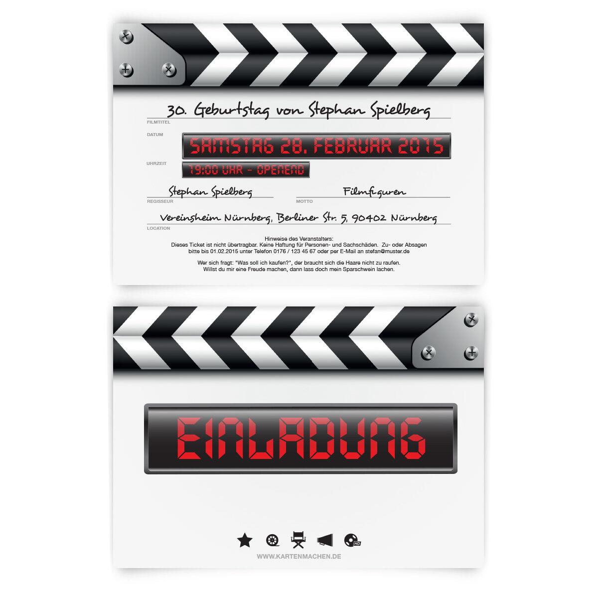 Einladungskarten zum Geburtstag als Filmklappe Film Kino Movie Regisseur | Niedriger Preis und gute Qualität  | Schön und charmant