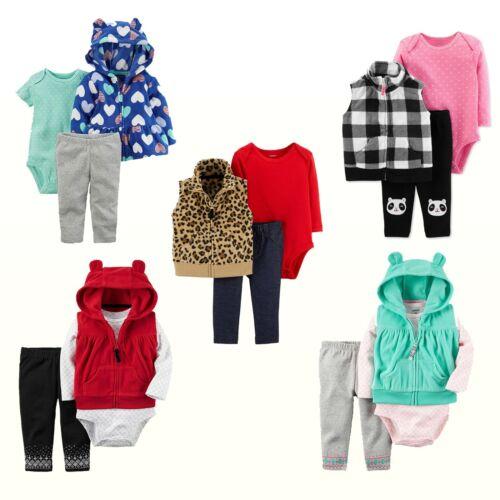 NWT Carter/'s Baby Girls/'  Fleece Vest//Cardigan Bodysuit /& Pants Outfit Set