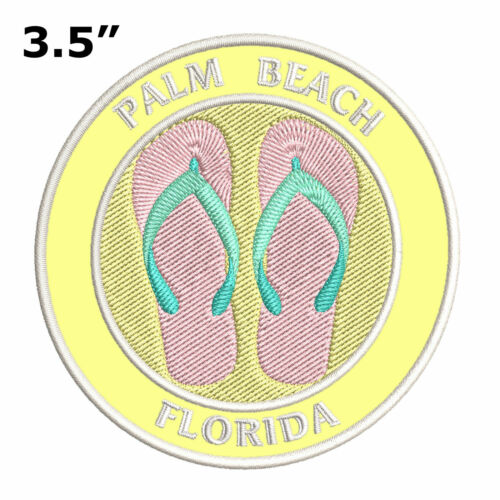 Flip Flops Palm Beach Florida Embroidered Patch Iron Sew-On Decorative Applique