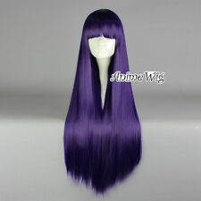 Lolita Dark Purple Long 80CM Straight Fashion Cosplay Wig with Bangs + Wig Cap