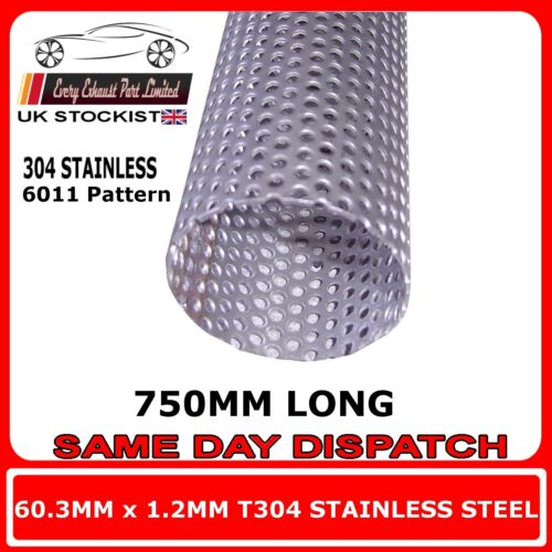 """60mm 2.375/"""" x 30/"""" 750mm Exhaust Repair Pipe Perforated Tube Stainless T304"""