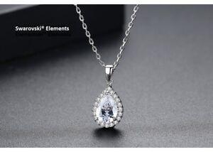 Détails sur Collier chaîne pendentif goutte d'eau Swarovski® Element top  qualité transparent