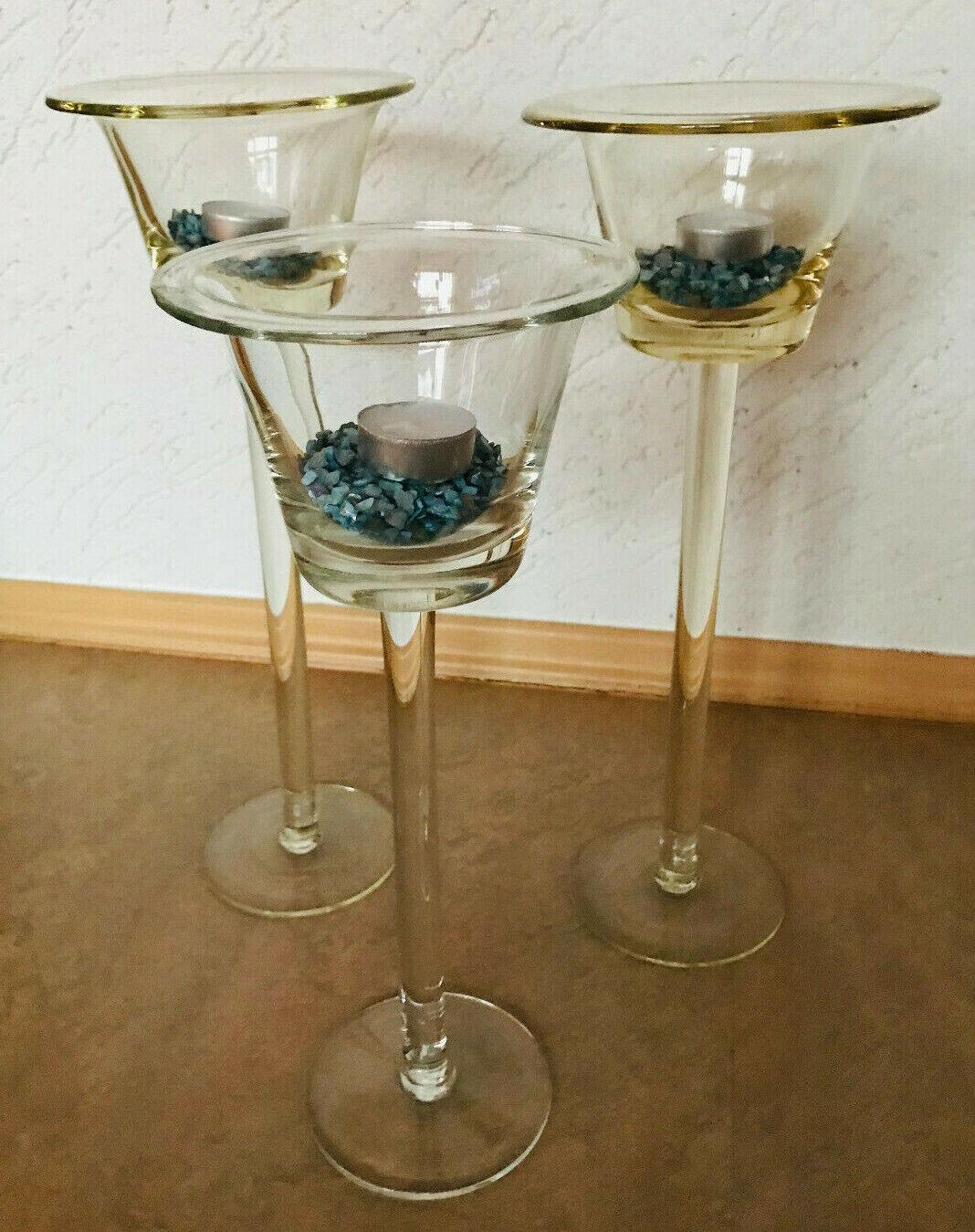Kerzenständer Glas Glaskerzenständer Glaskelche 36, 39 + 40 cm hoch 3 Leuchter