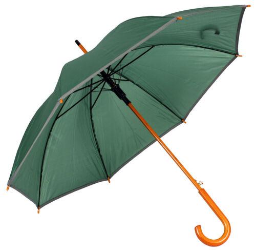 Automatik Regenschirm Stockschirm Klassischer Regen Schirm Holzgriff 90x105cm