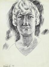 Hans Häusle 1889-1944 Zürich / Tuschezeichnung 1924 Frauenporträt, junge Dame