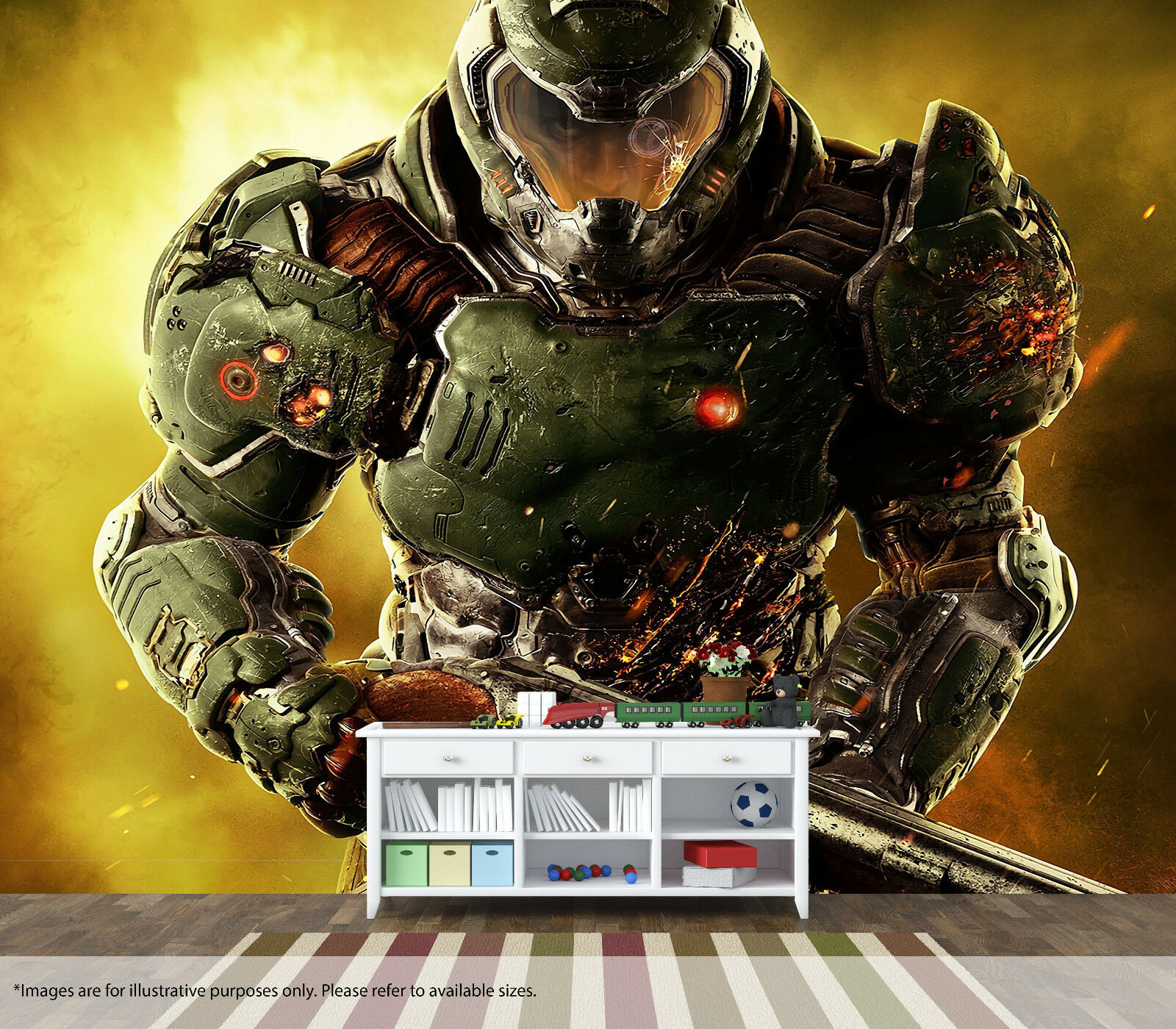 Doom Wall Mural Wall Art Quality Pastable Wallpaper Decal Xbox Gamer Playstation