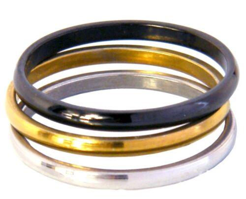 Edelstahlring Set 3 Stück 0,6cm Silber Gold Schwarz Gr 17-22
