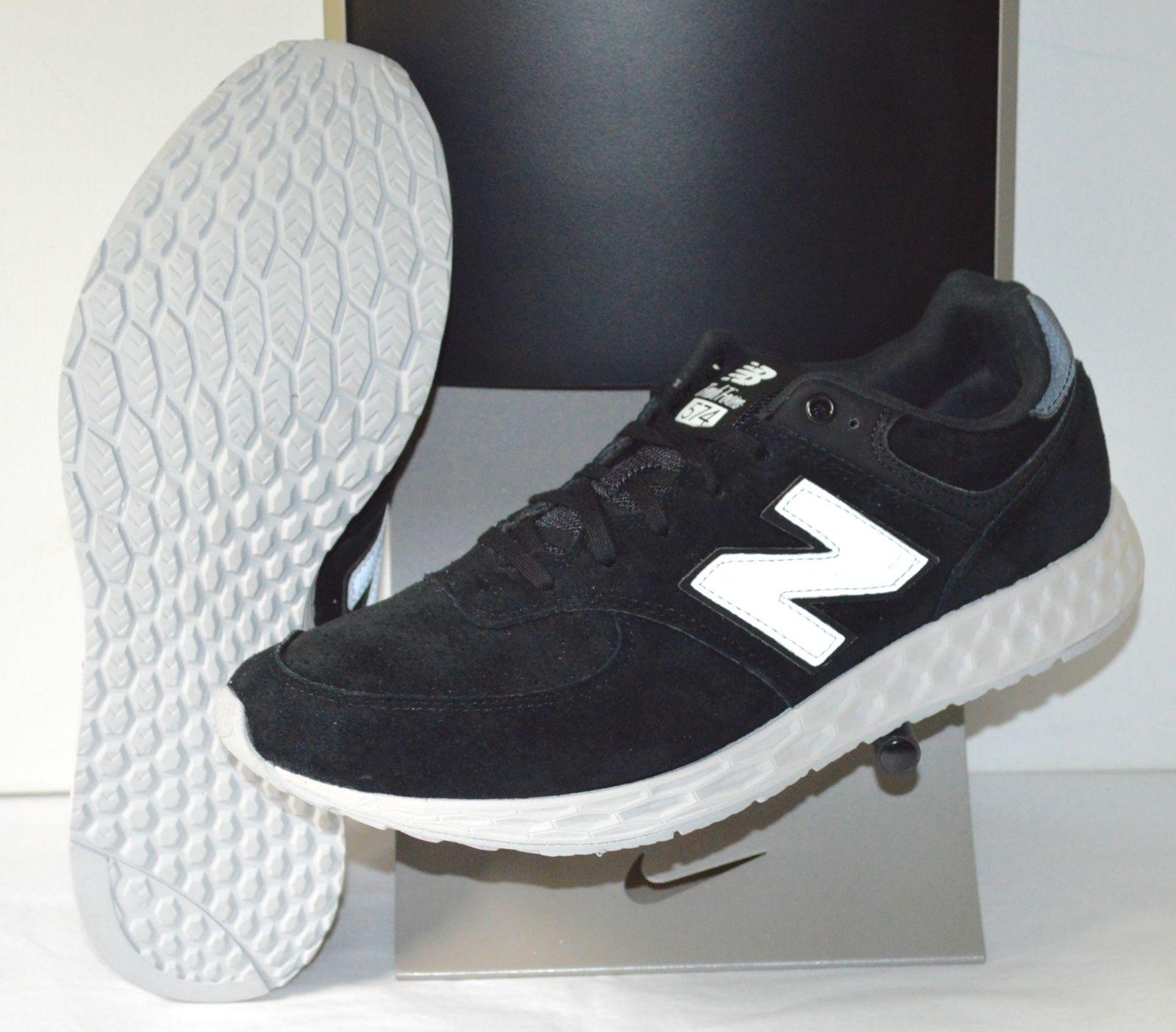 New 120 New Balance NB Fresh Foam 574 Black/White Suede sz 10 Excellent Ride