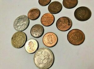 Old-coins-a-total-of-cents-and-other-coins-16-vintage-pieces