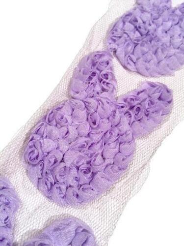 "3 pieces Lavender 3/"" shabby chiffon Easter bunny rose trim"