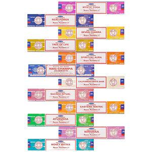 12-Pack-Satya-Nag-Champa-Genuine-Incense-Sticks-Joss-15g-Mixed-Scents-New-Range