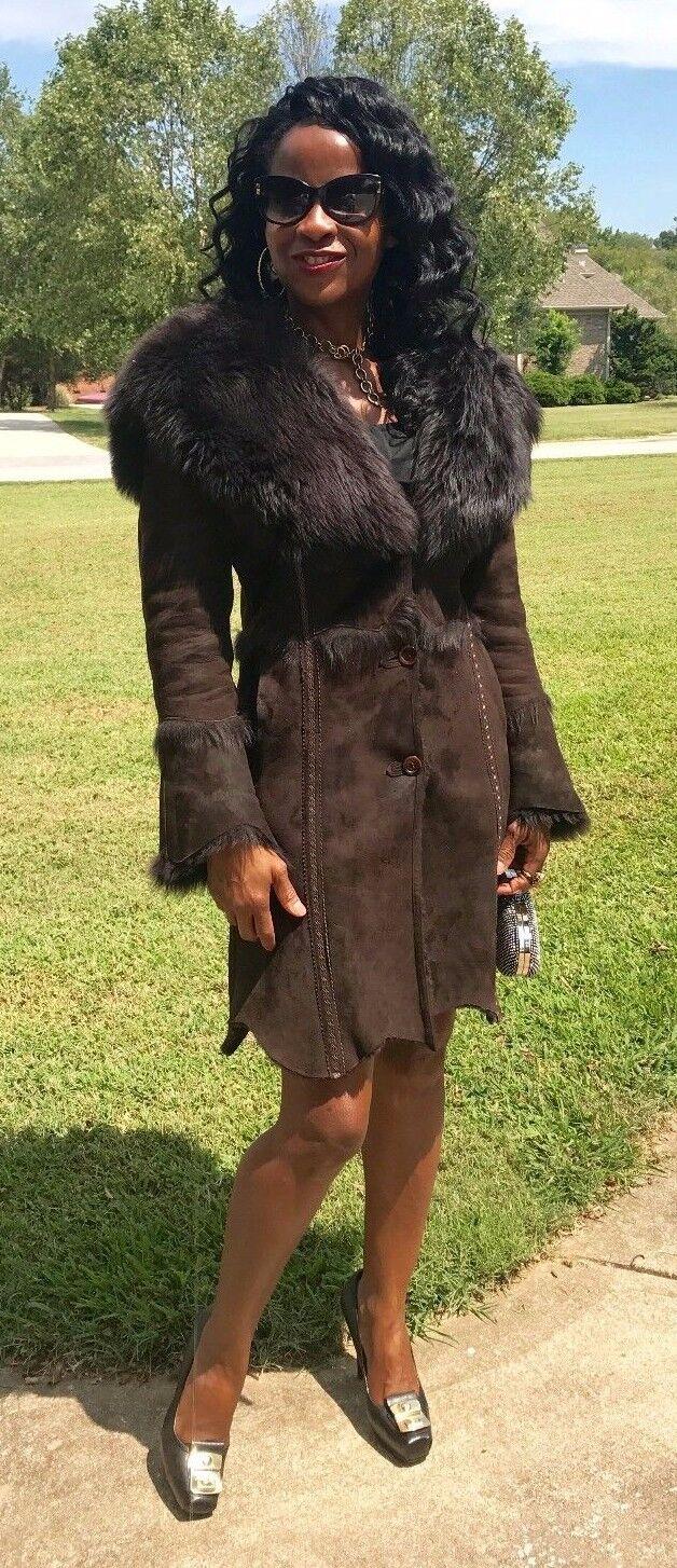 Mint Designer Di Bello hooded midi length dark brown Shearling lamb Fur Coat S