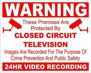 CCTV Camera warning sticker sign X 4 10cmx8cm self adhesive video recording