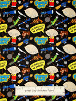 Family Guy Cotton Fabric By The Yard Stewie Griffin Tv Character Toss Black