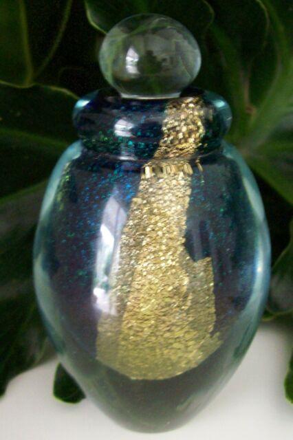 Large Eickholt Art Glass Perfume Bottle~Signed~2007~Gold Leaf~Mint~Awesome Gift