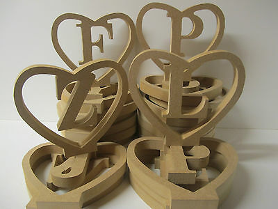 "HEART ""LETTERS IN HEART"" Free Standing 18mm thick A-Z Available"