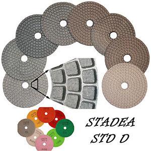 """STADEA Diamond Polishing Pads 4"""" Wet/Dry 7 Pcs Set For Granite Marble Concrete"""