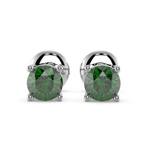 Plata Esterlina 0.50 carat redondo en forma de verde esmeralda Rosca Trasera Aretes Pendientes