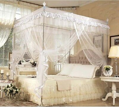 White Lace 4 Corner Luxury Post Bed Canopy Mosquito Net Royal Princess Netting