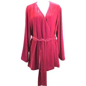Randolph-Duke-The-Look-Womens-1X-Red-Silk-Velvet-Reversible-Belted-Jacket-O