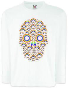 Rainbow-Skull-Kinder-Langarm-T-Shirt-Skulls-Fun-Regenbogen-Totenkopf-Schaedel