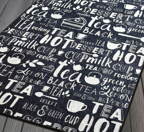 Tapis Coffee design moderne Café Motif En Noir Chaud Thé 80x150