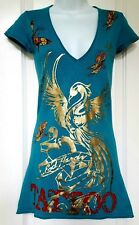 Ed Hardy by Christian Audigier Teal Graphic Rhinestones Mini Dress Sz. S