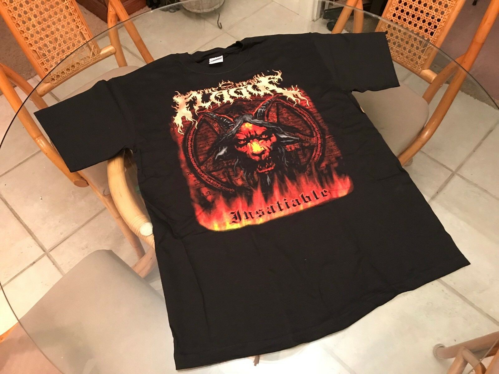 The New Plague Insatiable 2008 Medium T-Shirt  (See) Morbid Angle & Obituary