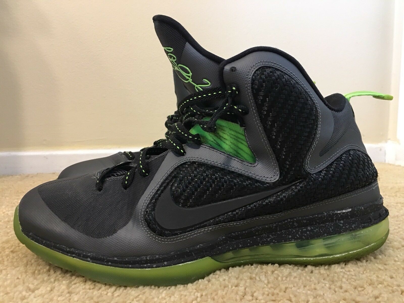 Nike Lebron 9, Noir /Green, Hommes Basketball Chaussures ,