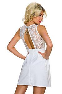 Damen Abendetuikleid Minicocktail Kleid Kurz Spitze Rücken Cut Out