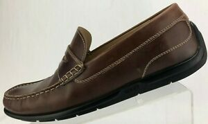 4abb6d1ebd4 Ecco Driving Shoes Moccasin Moc Toe Brown Leather Penny Loafer Men ...