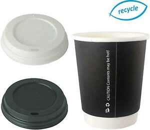 36605e26822 8/12/16oz Double Wall Disposable Coffee Cups Black Hot Drinks Paper ...