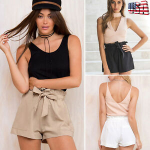 c14e1b9306 Women Hot Pants Summer Casual Loose Shorts Bow Beach High Waist ...