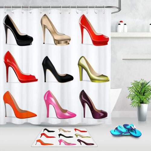 Waterproof Fabric Shower Curtain Liner Ladies Colorful High Heel Shoes Pattern