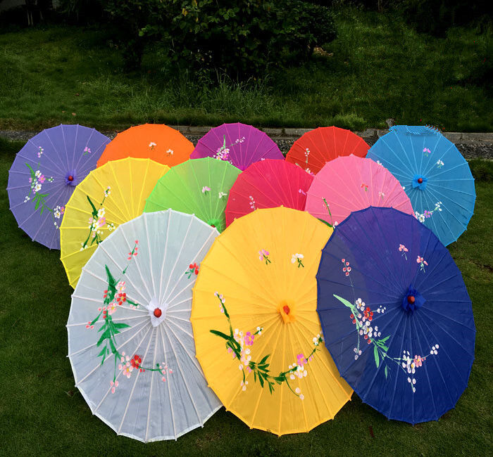 Chinese Japanese Umbrella Art Deco Painted Parasol For Wedding Dance Party 2018