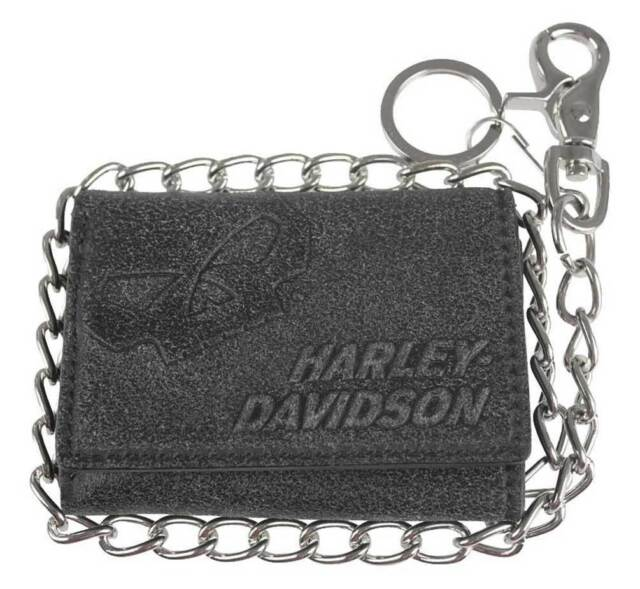 4e22ebb70a86 Harley-Davidson® Men's Skull Tri-Fold Biker Chain Black Leather Wallet  UN4663L