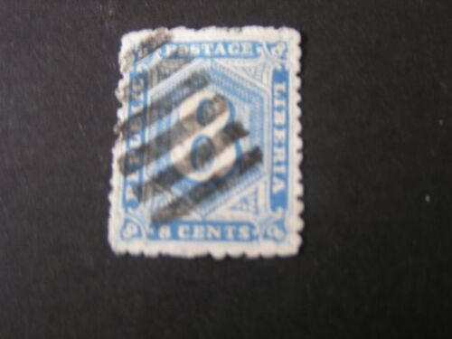 LIBERIA, SCOTT # 32,8c. VALUE BLUE 1889 NUMERICAL ISSUE USED