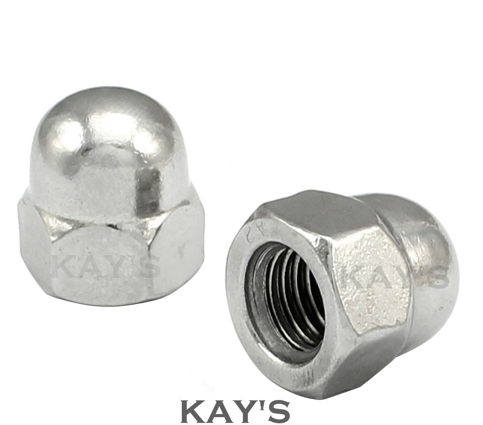 UNC DOME NUTS A2 STAINLESS STEEL 4, 6, 8, 10, 1/4