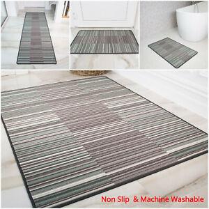 Duck Egg Striped Non Slip Kitchen Mats Washable Geometric Utility Room Rugs Best Ebay
