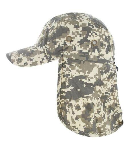 Baseball Cap Camping Hiking Fishing Ear Flap Sun Neck Cover Visor Camo Army Hat