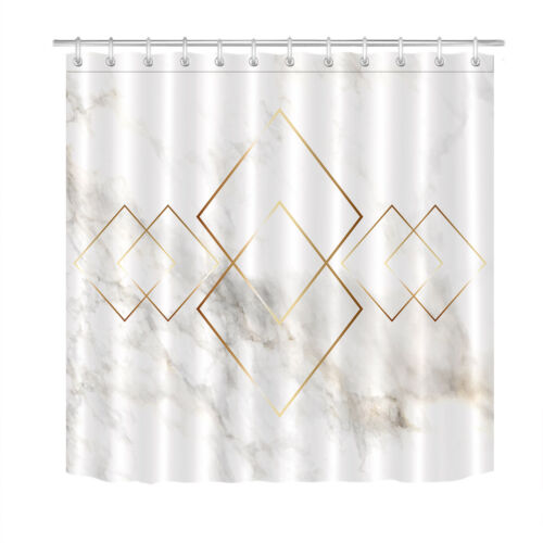 Marble Golden Pattern Shower Curtain Liner Polyester Fabric Hooks Bathroom Decor